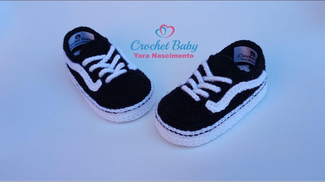 f59217b8c7 Tênis VANS OLD SKOOL de Crochê - Tamanho 09 cm - Crochet Baby Yara ...