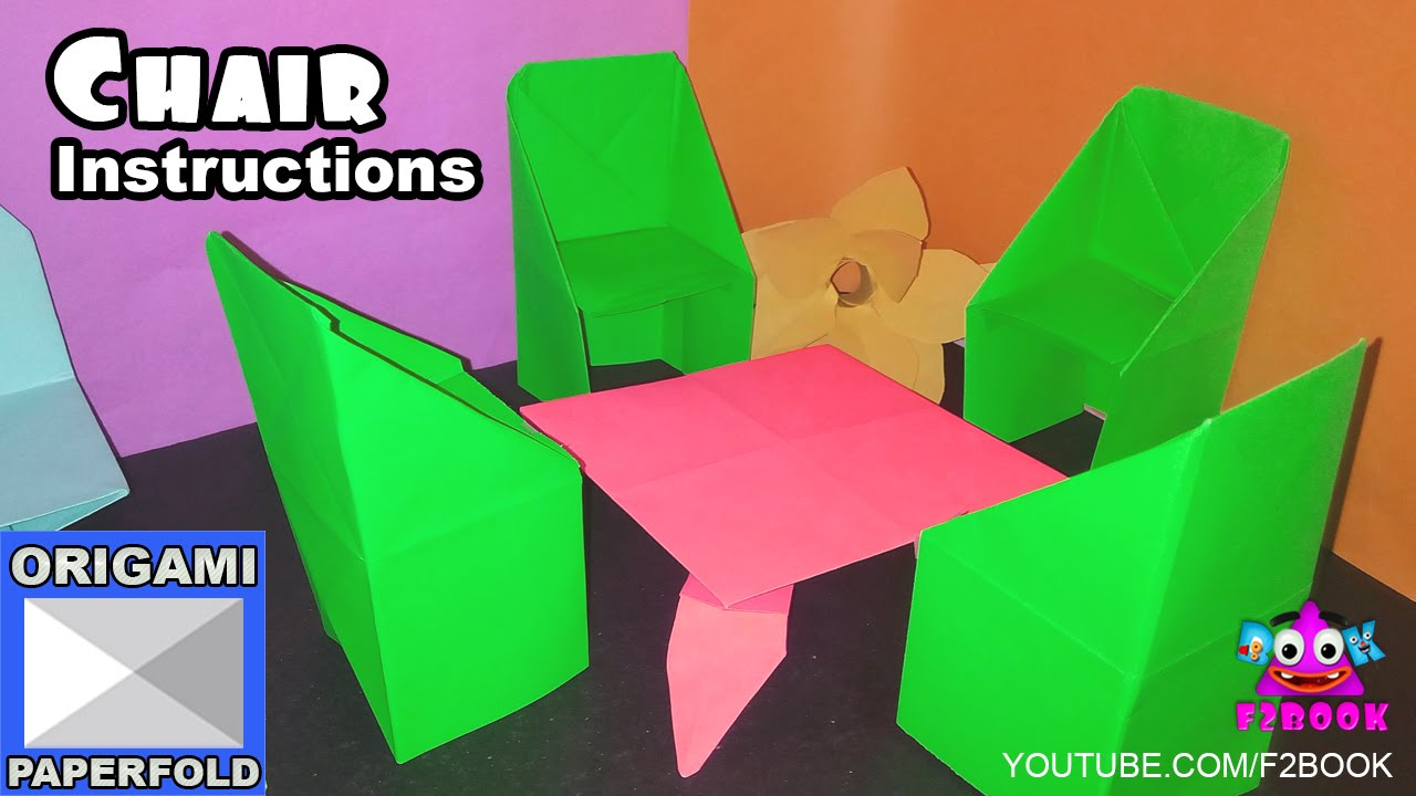 How to make an origami chair step - by step F2BOOK Video 72 - YouTube for Origami Bed Instructions  58lpg