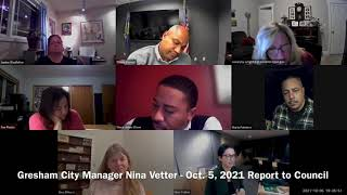 Gresham City Manager Nina Vetter, Oct. 5, 2021, Report to Council