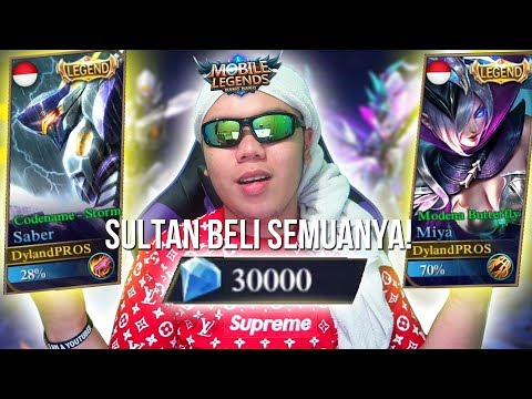SULTAN BELI SEMUA SKIN LEGENDS SEKALIGUS!?!? TOTAL? 30.000 DIAMOND! - Mobile Legends Indonesia #42