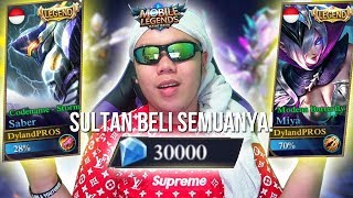 SULTAN BELI SEMUA SKIN LEGENDS SEKALIGUS TOTAL 30000 DIAMOND - Mobile Legends Indonesia 42