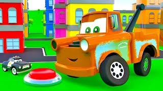 Super Mater helps cars. Giant Mater, Sheriff, King. The SUPER Tow Truck Story with Super Toys cars 3