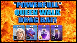 POWERFUL NEW QUEEN WALK DRAG BAT! | bat spell | after nerf | coc | clash of clans