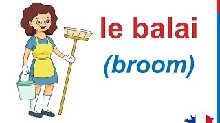 French Lesson 90 House Cleaning Supplies Outils de nettoyage Productos de limpieza Chores Vocabulary