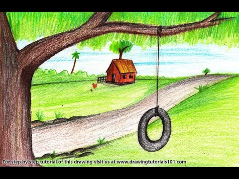 How To Draw A Tire Swing On Tree Step By Step Very Easy