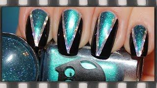 Геометрический дизайн ногтей Новинки 2015. Маникюр лентой | Cute Triangle Nail Art Tutorial