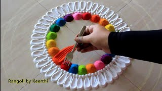 Simple rangoli design using fork for Holi l Holi rangoli designs with colours l हैप्पी होली रंगोली