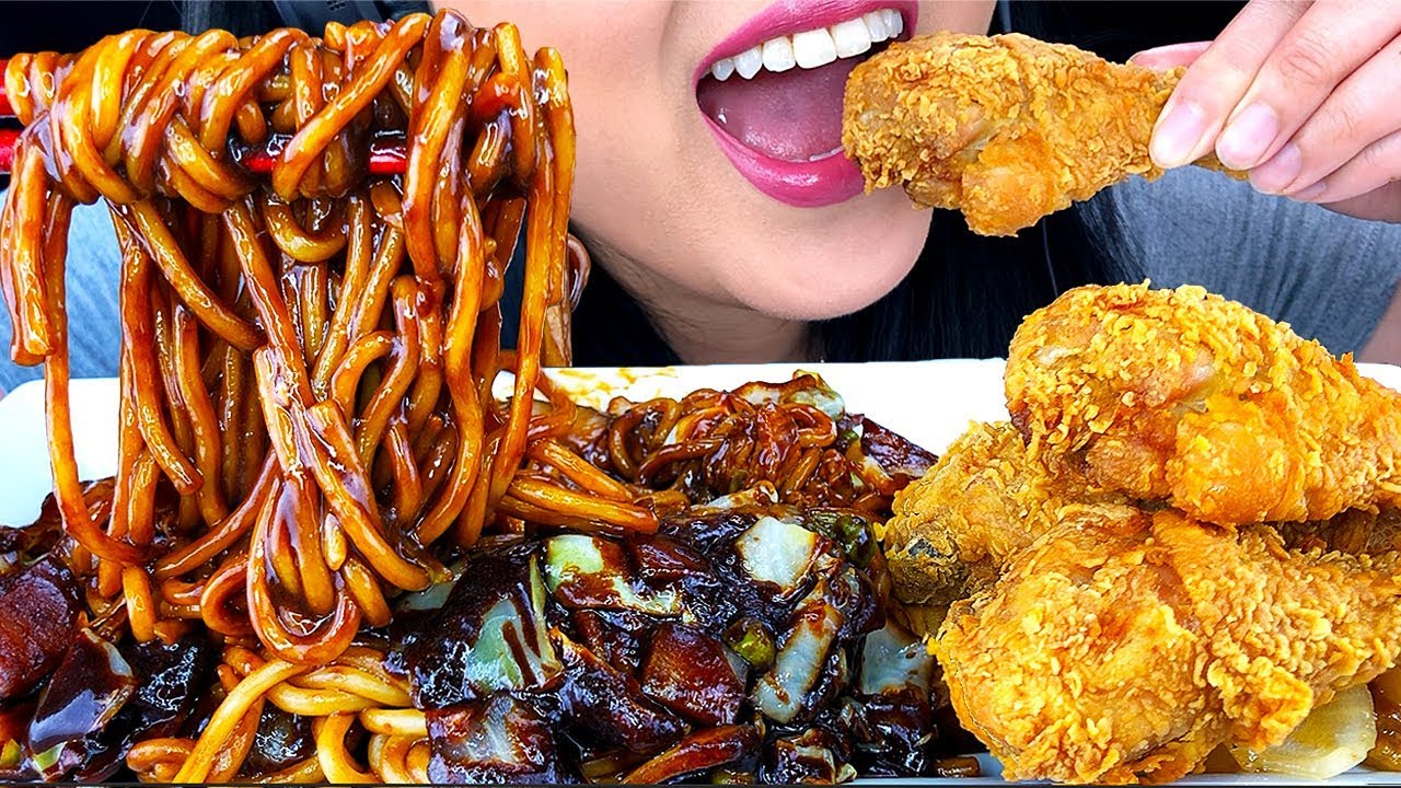 ASMR BLACK BEAN NOODLE & FRIED CHICKEN 치킨먹방 짜파게티 먹방 (Eating Sounds) *NO TALKING* | ASMR Phan