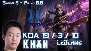 KZ Khan LEBLANC vs CASSIOPEIA Mid - Patch 8.8 KR Ranked