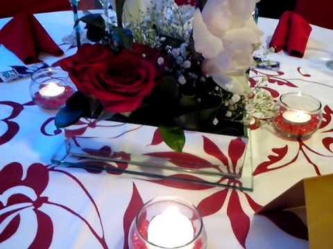 Centro de mesa boda rojo con blanco youtube - Centros de mesa para bodas economicos ...