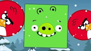 Angry Birds Kick Out Green Piggies - TWO HUGE ROUND BIRDS GOT KICKED BY GIANT SQUARE PIGS!