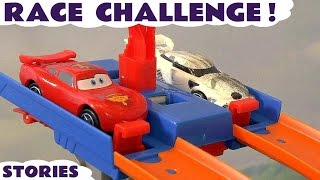 Cars Toys McQueen and Hot Wheels Race Challenge Carros Toy Videos Compilation for kids  ToyTrains4u