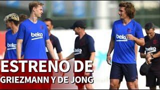 Los nuevos del Barça La sonrisa de Griezmann y la concentración de De Jong
