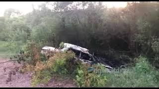 В Башкирии на трассе загорелся автомобиль
