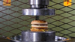 Crushing Hamburgers Hydraulic Press