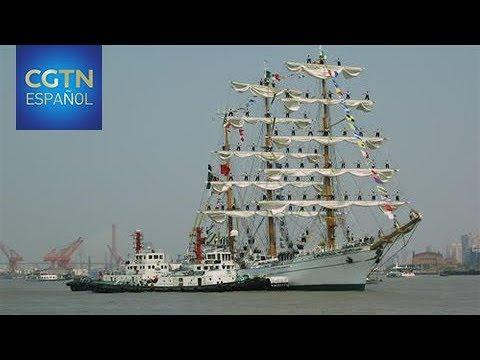 El buque escuela Cuauhtémoc atraca en Shanghai en su travesía por el mundo