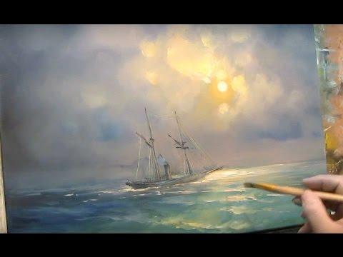 Bright moonlight. Sailboat. Oil painting.
