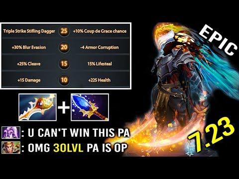 1 SHOT KILL 25% Crit x3 Dagger 30 Level 7.23 Divine Rapier PA Epic Comeback Most Imba Hero Dota 2