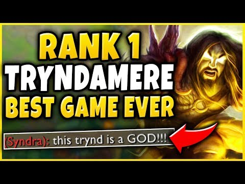 RANK 1 TRYNDAMERES GREATEST GAME OF HIS LIFE! (CHALLENGER 1V9 CARRY) - League of Legends