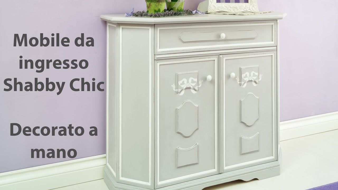 Mobile da ingresso shabby chic decorato a mano youtube for Ingresso shabby chic