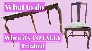 Totally Trashed Dining Set Gets Repurposed Into Desks