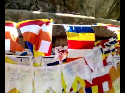 Flags around Vajrasana at Bodhgaya