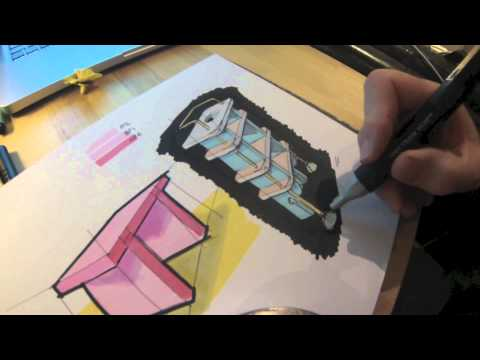 Rendering with marker pens