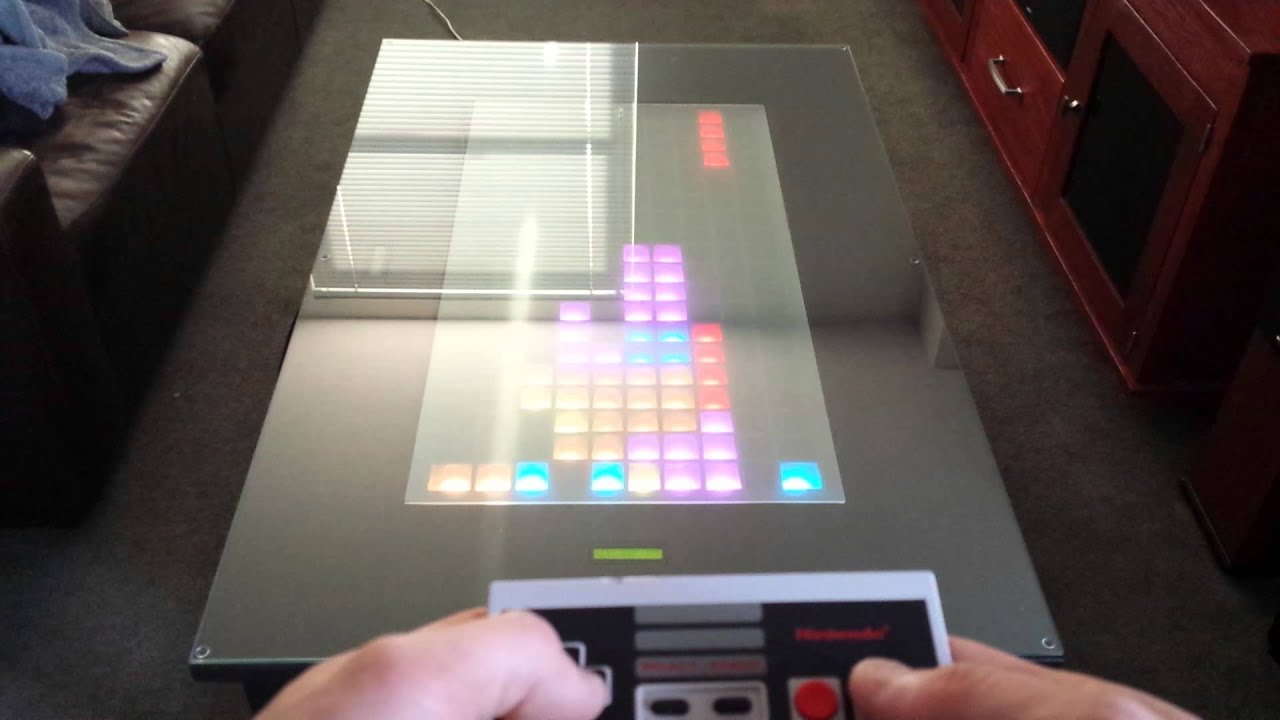 Tetris gameplay on LED game table using arduino