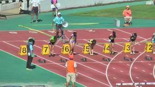 中学共通女子100mH(0.762m) 決 勝 (風 -0.1) 1着 6レーン 15.00 [214] 岩佐...