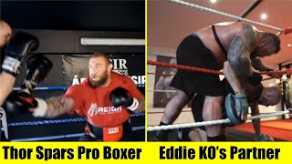 Thor Sparring Pro Boxer/Eddie Busts Up Training Partner (Coughs Up Blood!)