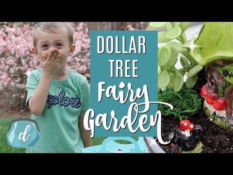 DIY Mini Dollar Tree Fairy Garden 🧚🏻‍♂️ with Carson!