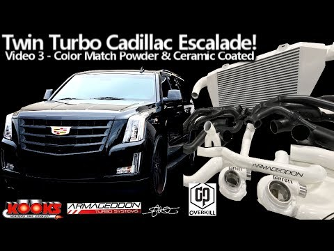 Twin Turbo Cadillac Escalade - Color Matched Ceramic & Powder Coat (White/Black) Pre-Install Video 3