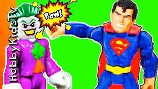 Toys JOKER vs SUPERMAN! Imaginext Story Who Wins? HobbyKidsTV