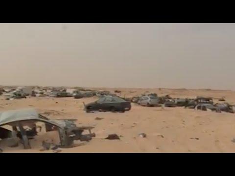كاميرا الجزيرة تدخل المنطقة العازلة في الكركرات بين المعبرين الحدوديين المغربي والموريتاني 🇲🇦. 🇲🇷