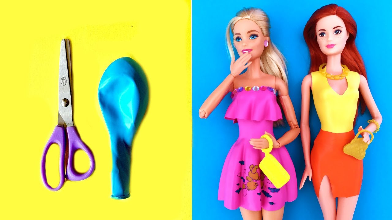 👗 DIY Barbie Dresses with Balloons | BARBIE DOLL HACKS and CRAFTS