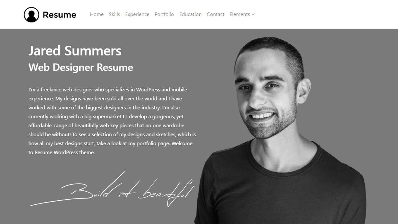 resume wordpress theme responsive cv template site builder