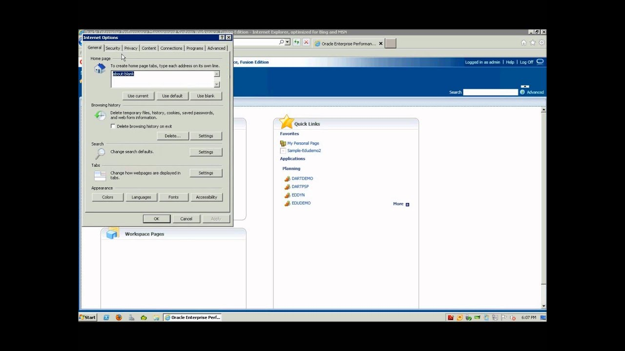 How to disable epm in internet explorer - Adjusting Internet Explorer Settings For Oracle Enterprise Performance Management