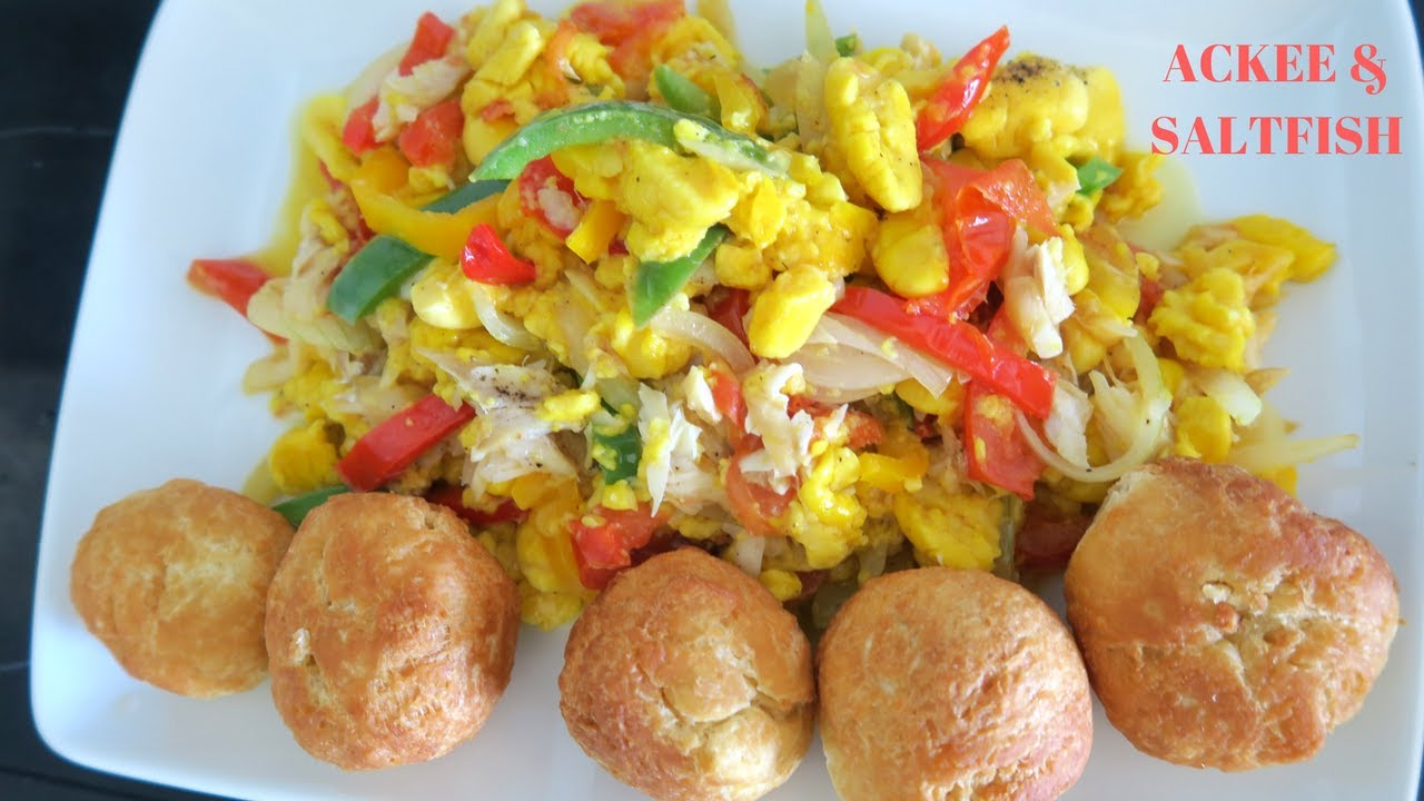 Jamaican national dish images for Salt fish ackee