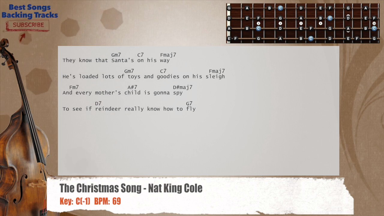 The Christmas Song - Nat King Cole Bass Backing Track with chords and lyrics - YouTube