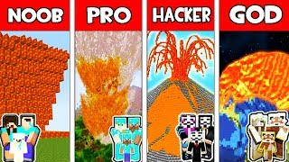 Minecraft - Noob Vs Pro Vs Hacker Vs God  Family Volcano Apocalypse In Minecraft Animation