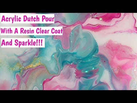 Easy Beginners Acrylic Pour With Resin Clear Coat & Sparkle - Arteza Pouring Paints!
