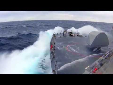 Watch combat ship USS Fort Worth during Rough Seas