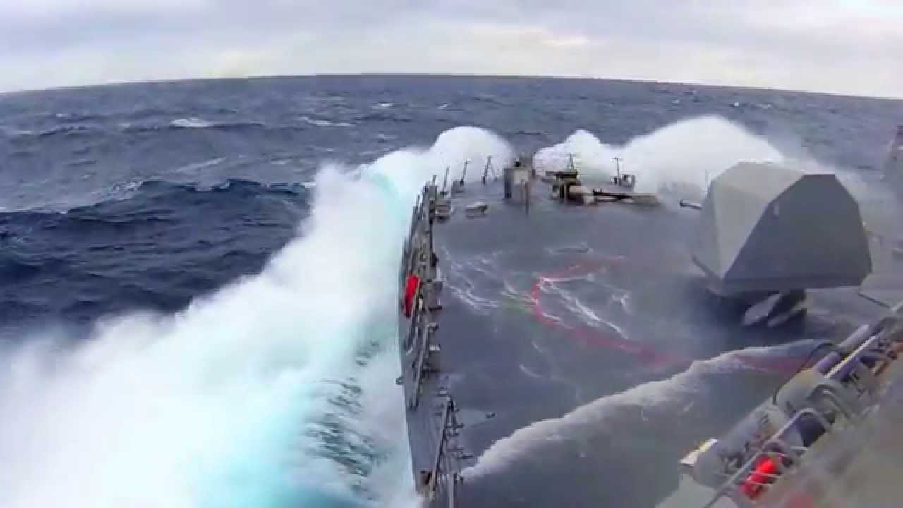 New Generation of Destroyer Warships in Rough Sea Storm