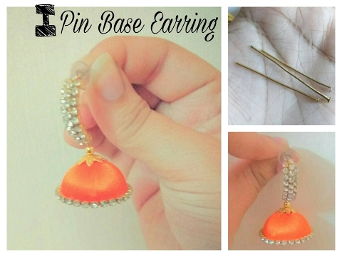 How to make I Pin base | earring jhumka at home - Tutorial