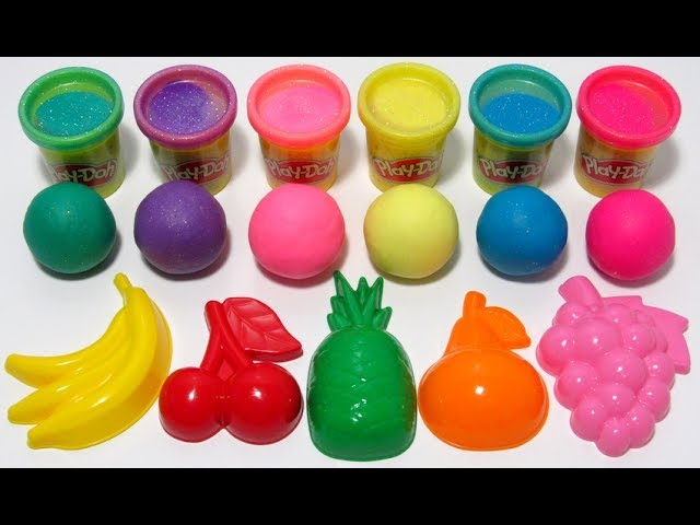 Играем и учим цвета на английском с Play-Doh Sparkle пластилиновыми шариками и формочками фруктами.