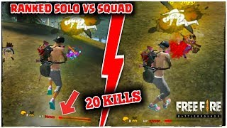 FREE FIRE RANKED SOLO VS SQUAD 20 KILLS GAMEPLAY [37 HP FIGHT VS LAST SQUAD] GARENA FREE FIRE !!!