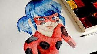 Как нарисовать Леди Баг и Супер кот акварелью, новые серии смотреть. Ladybug and Super Cat