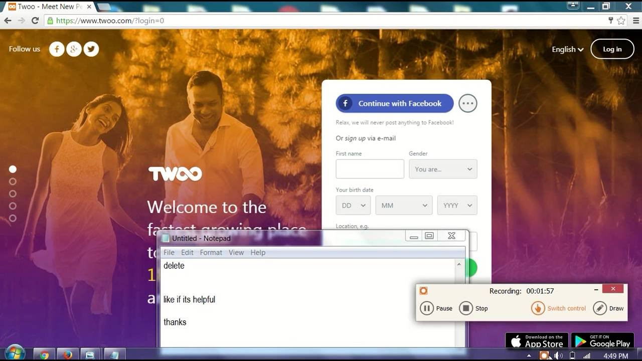 How to delete account from twoo
