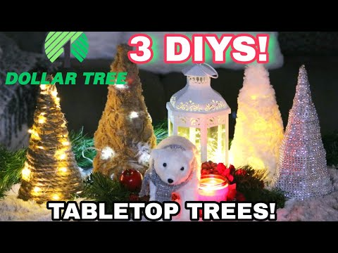 DOLLAR TREE CHRISTMAS DIY | 2019 Christmas Decor | Table Top Trees | From Farm House to Glam!