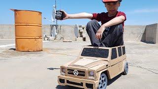 صنع سيارة كبيرة من الكرتون مرسيدس جي كلاس لعبه تعمل بالريموت